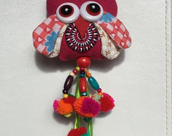 Cute owl bird colorful keychain, handbag accessory.