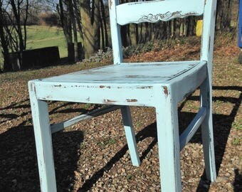 Chair, House Chair, kitchen Chair, antique, old, Shabbychic, shabby, türkisHolzstuhl