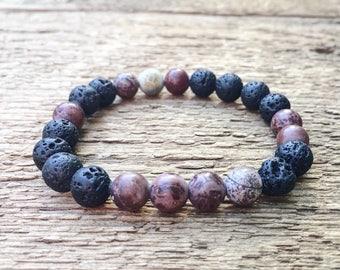 beaded bracelet, gemstone bracelet, lava bead bracelet, essential oil bracelet, diffuser bracelet, Artistic Jasper bracelet stretch bracelet