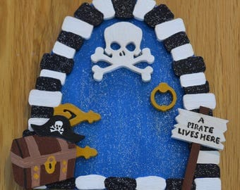 Wooden pirate fairy door