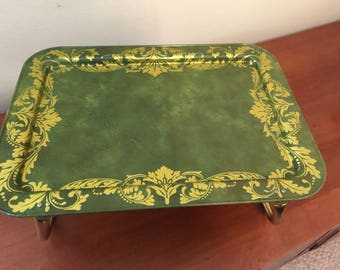 Vintage LaVada Avocado Green with Gold Scroll Metal TV Tray