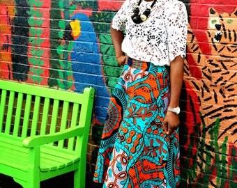 African prints Ankara skater skirt, women's skirt