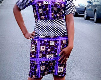 African Print Ankara Pencil combo Dress in short Sleeves