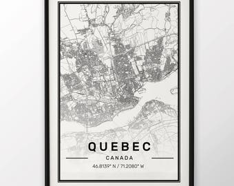 Quebec City Map Print, Modern Contemporary poster in sizes 50x70 fit for Ikea frame 19.5 x 27.5 All city available London, New York Paris