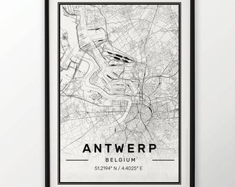 Antwerp City Map Print Modern Contemporary poster in sizes 50x70 fit for Ikea frame 19.5 x 27.5 All city available London, New York Paris