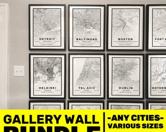 Custom City Map Prints, Personalised bundle Gallery wall, city poster in size 50x70 fit for Ikea frame personalized streetmap, city travel