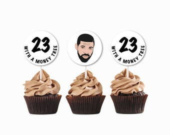 Drake Cupcake Toppers, Instant Download Drake Toppers, Drake Party Decorations, 23 With A Money Tree, Drake Birthday Party, Drake Printable
