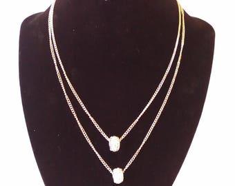 White & Gold Rhinestone 2 Pc. Costume Jewelry Set