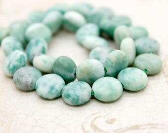 Natural Matte Mountain Jade Flat Round Gemstone Beads