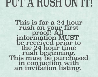 RUSH Your Invitation | Add on a 24 Hour Proof Rush to an Invitation Listing