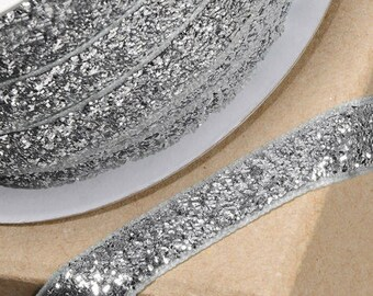 Gorgeous Silver Velvet Sparkle Glitter Ribbon 10mm Wide x 1 Metre  - Card Making Sewing Craft