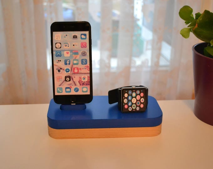 iphone charging station docking station stand Apple Watch charging station Apple Watch station stand IDOQQ due Blue Wood Station, iphone 5, 6, 7, 8