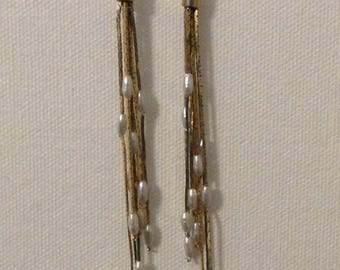 Vintage Gold-tone and Freshwater Pearl Long Dangle Earrings