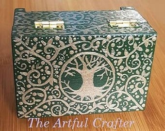 Rustic Wedding Ring Box. Gift. Tree of Life or Moonlit Forest. Wooden Hand Painted. Unique Pagan. Druid. Hand Fasting.