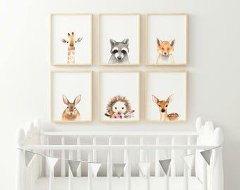 Hedgehog Animal nursery decor, Nursery wall art, PRINTABLE art, animal prints, Nursery safari prints, Giraffe print, Rabbit print