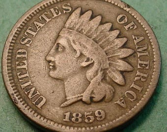 1859 Indian Head Cent Very Good FREE SH In United States # ET103