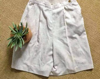 Vintage High Waisted Tan Linen Shorts