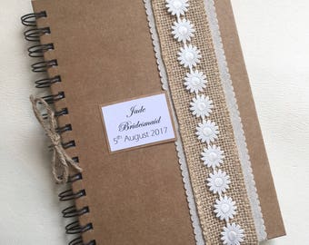 Personalised Bridesmaid Gift Notebook Wedding Planner Vintage Kraft Hand Made Any Words Printed A5