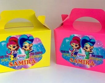 Shimmer & Shine  Birthday Party Bag Box Personalised x 1