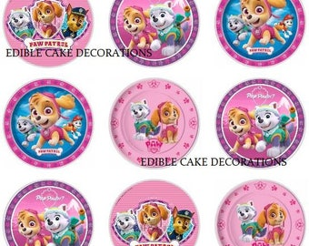 24 x Paw Patrol rice fairy paper cupcake cake toppers edible paper decoration Paw Patrol Birthday Girl in pink