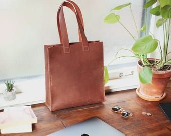 Square Leather Tote - Leather Market Bag - Leather Tote Bag - Distressed Leather Tote - Everyday Tote - Tote bag - Leather Laptop Bag