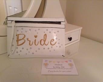Personalised Bride Handbag, Personalised Clutch Bag, Wedding Bag, Personalised Hen Party Bag, Personalised Handbag, Bridal Handbag, Handbag