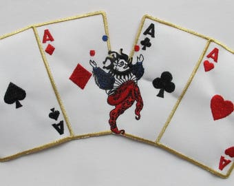 Embroidered Patch Four Aces Poker Card,Joker Iron on Sew On Applique