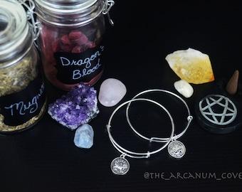 Zodiac charm bangle bracelet / Astrology charm bracelet