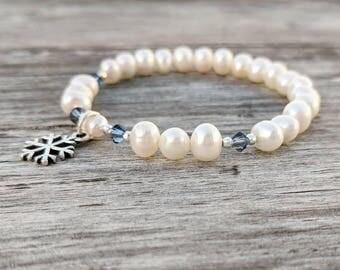 Natural White Freshwater Pearl Beaded Bracelet, Christmas Snowflake Charm Bracelet, Blue Swarovski Crystals Bracelet, Sterling Silver Charm
