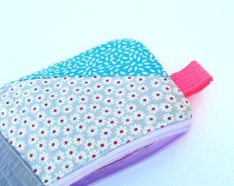 Patchwork Pencil case , quilted pouch , essentials big zipper pouch,craft supplies pouch , Necessaire Bag , zipper closure big pouch
