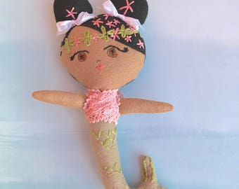Baby Fiona Mermaid Doll, Handmade felt doll with embroidery details based on pattern from Aimee Rae.  Looking for a loving forever home.