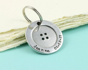 Personalised Pewter Button Keyring for a New Dad, Christening,Naming Day or Special Occassion