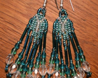 Handmade Glass Beaded Earrings Green White