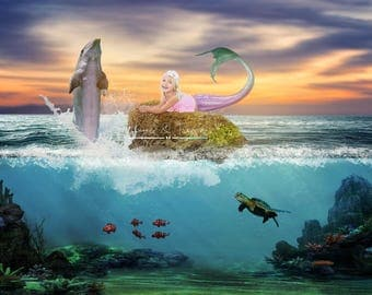 Mermaid Dolphin in the sea Digital Background