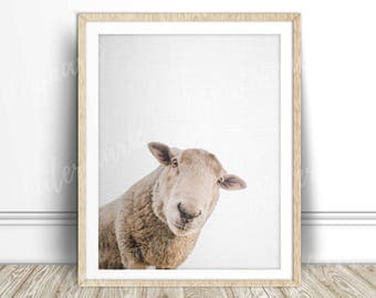 Sheep art print Animal wall art nursery poster canvas Digital printable Instant Download