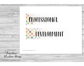 "Teacher Planner PRINTABLE - ""Professional Development"" Full Day Sticker with CUT FILE - for Erin Condren, Happy Planner, Lesson Planner, etc"