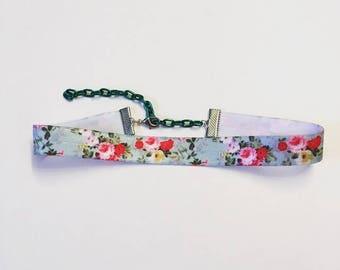 Pastel Blue Floral Rose Print Elastic Choker Necklace