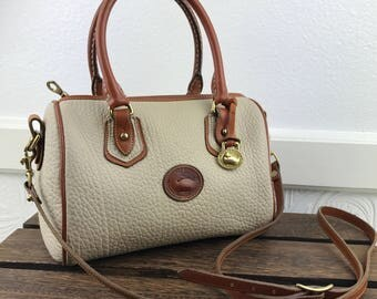 DOONEY & BOURKE Leather Ivory and Tan AWL Satchel Speedy Bag