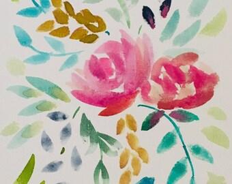 Multicolored floral bunch || watercolor