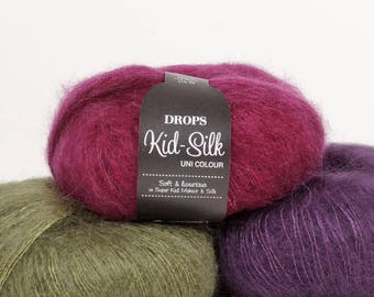 Mohair yarn, Kid mohair, DROPS Kid-Silk, Lace yarn, Mohair silk yarn, Knitting yarn, Yarn for knitting, Wool yarn, Super kid mohair,