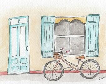 Bicycle by the window* Watercolour Mini // Fine Art Print // Postcard // Illustration