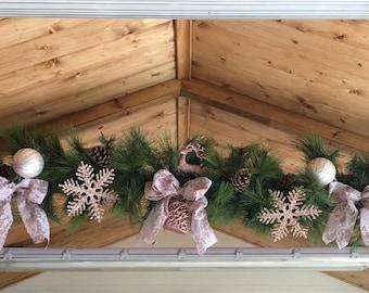 Rose gold garland, Christmas garland, artificial garland, dusky pink garland, christmas swag, spruce garland.