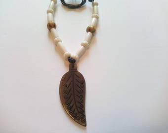 Native American bone feather necklace