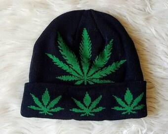 Vintage 90s style stoner beanie. Pot luck hat, Mary Jane beanie