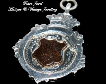 Antique Sterling Silver & Gold Watch Fob Dated 1918 End of WW1