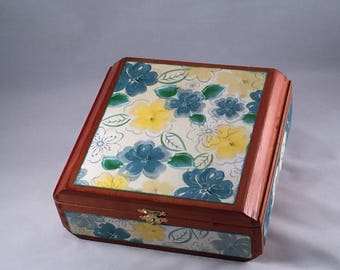 Altered Cigar Box, Jewelry Box, Keepsake Box, Floral, Flowers, Storage, Gift