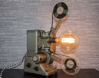 Upcycled Specto Projector - Upcycled Projector Lamp - Steampunk Lamp - Edison Lamp - Upcycled Lamp