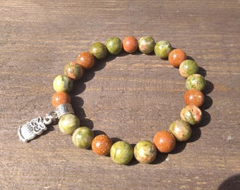 Natural stone braclet - Elven forest