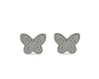 SALE Silver Butterfly Earrings, Silver Stud Earrings, Silver Earrings, Butterfly Jewelry, 925 Sterling Silver, CZ