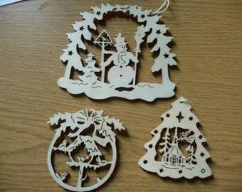 Set of 3 wooden Christmas tree decoration